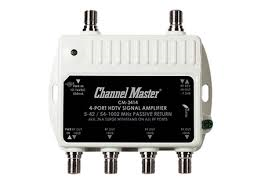 Channel Master 3414 4 port Distribution Amplifier to help when splitting your HDTV Antenna signals to multiple Televsions. Cut the cord Canada